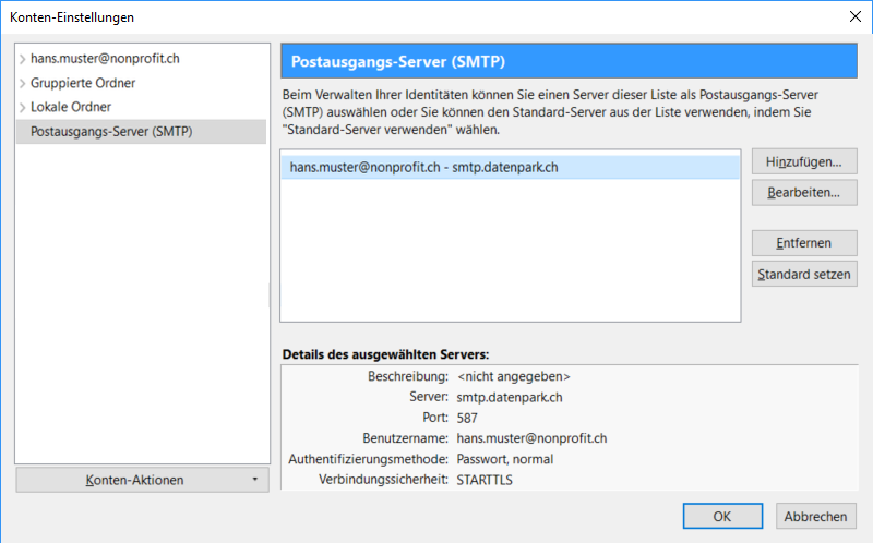 Postausgangs-Server (SMTP)